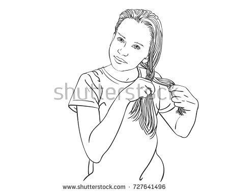 450x380 Sketch Of Beautiful Teenage Girl Braiding Her Long Hair In Braid