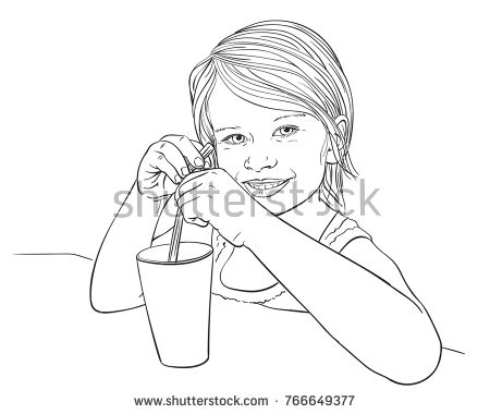 450x380 Sketch Of Pretty Little Girl Holding Straw In Glass With Beverage