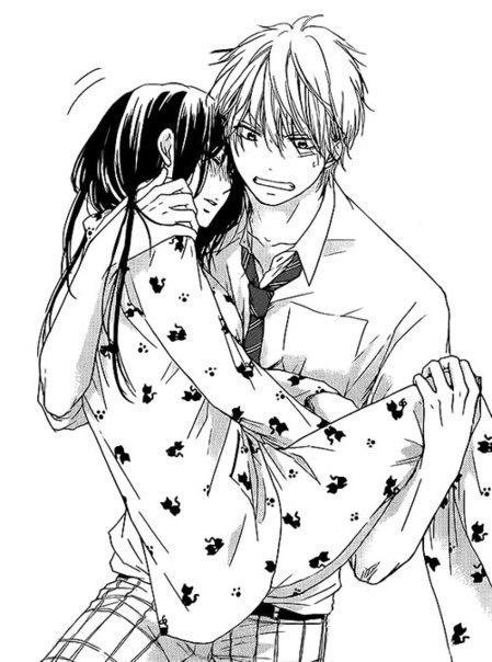 449x604 19, Anime, Black And White, Boy, Couple, Cute, Girl, Hug, Kawaii