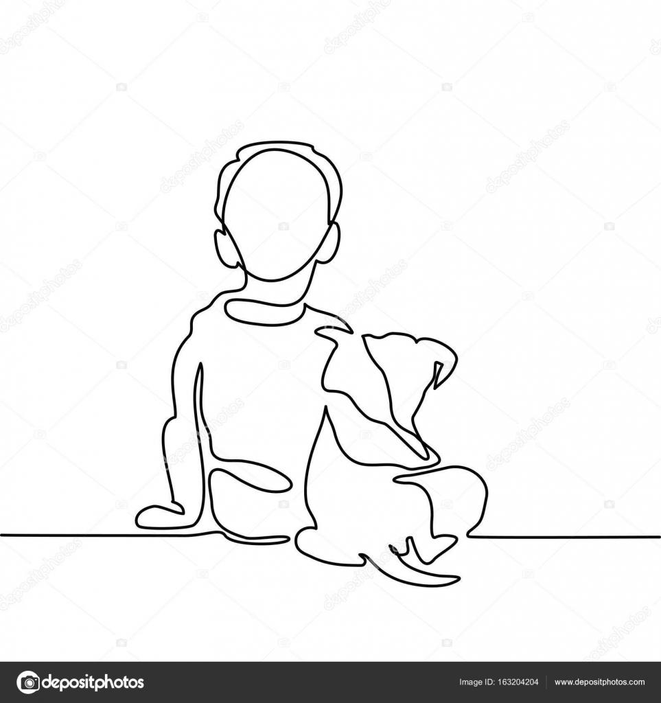 963x1024 Boy Hug Dog Stock Vector Valenty
