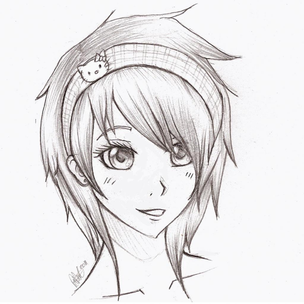 1024x1024 Draw Anime Girl