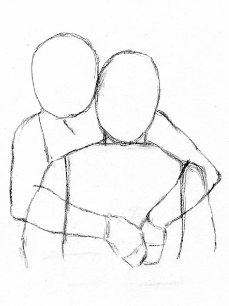 450x600 Four Easy Methods For Drawing People Hugging Let's Draw People