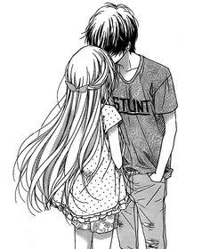 236x280 Manga Couple Anime Couple. Hug Black And White. Boy And Girl
