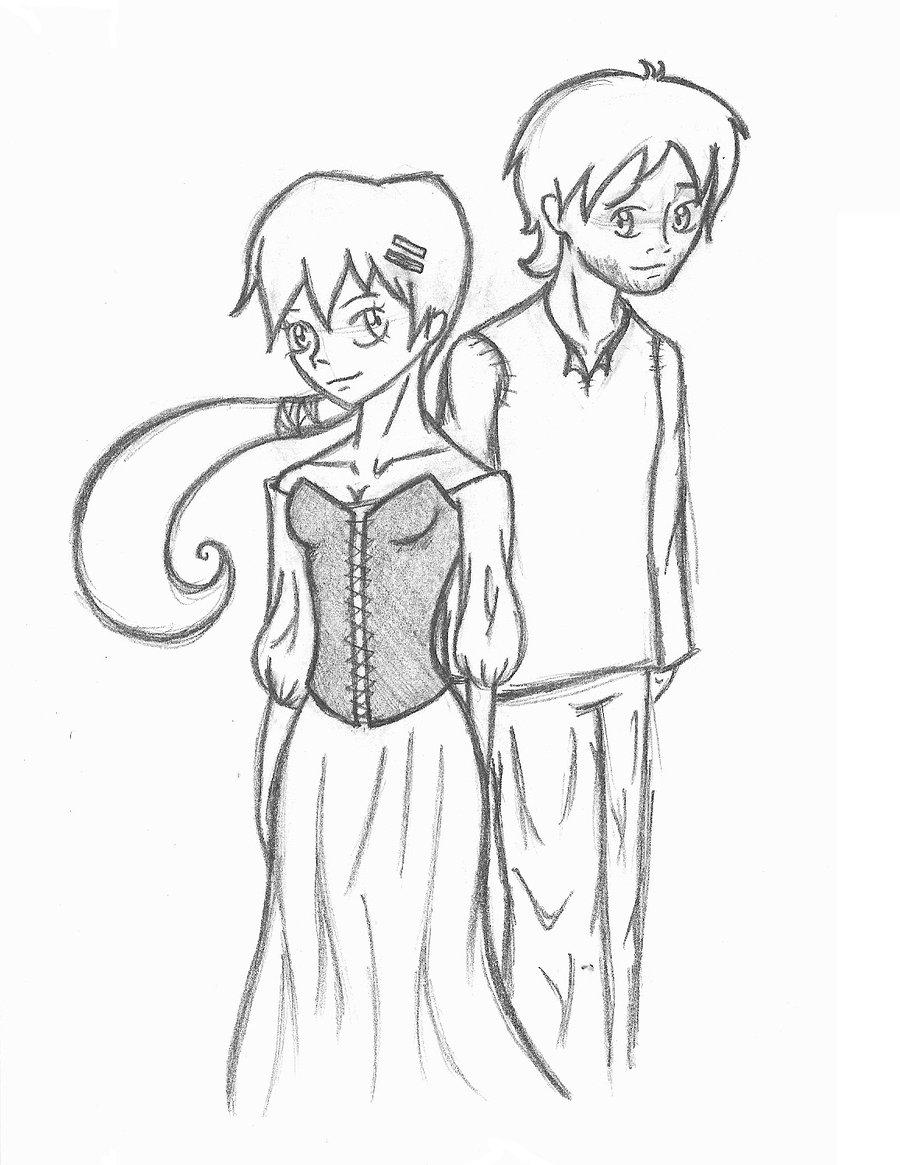 900x1165 Girl And Boy Sketch By Peachkid4