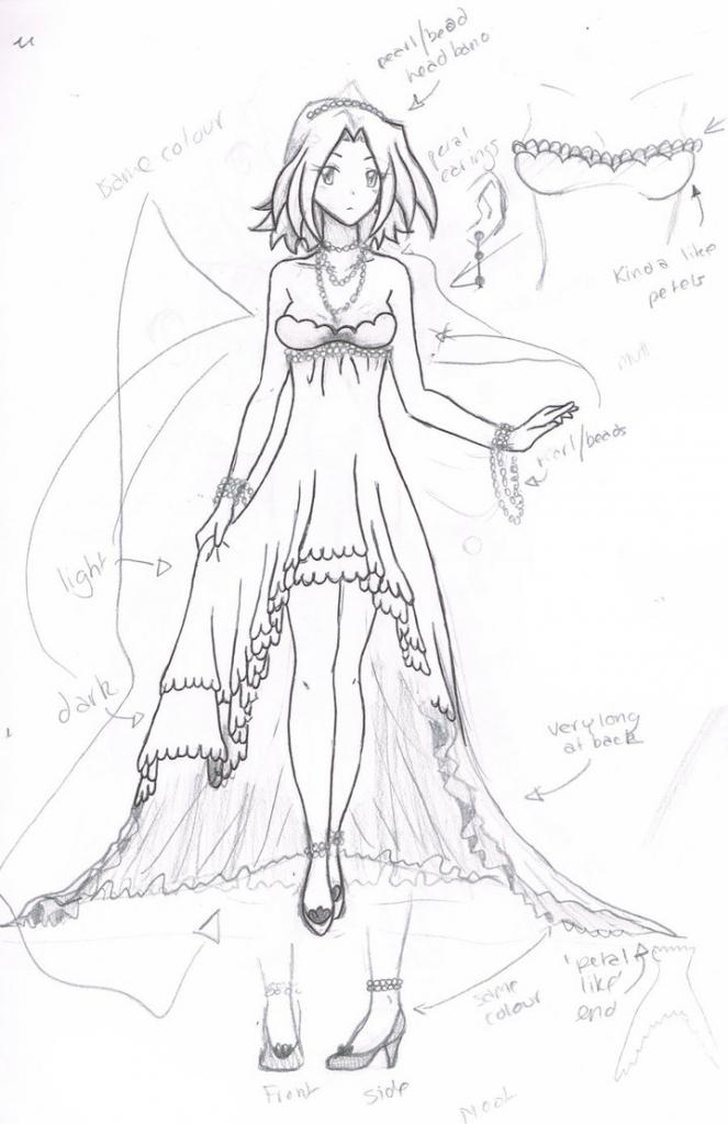 663x1024 Anime Dress Sketch Anime Girl Wedding Dress Drawing Wedding