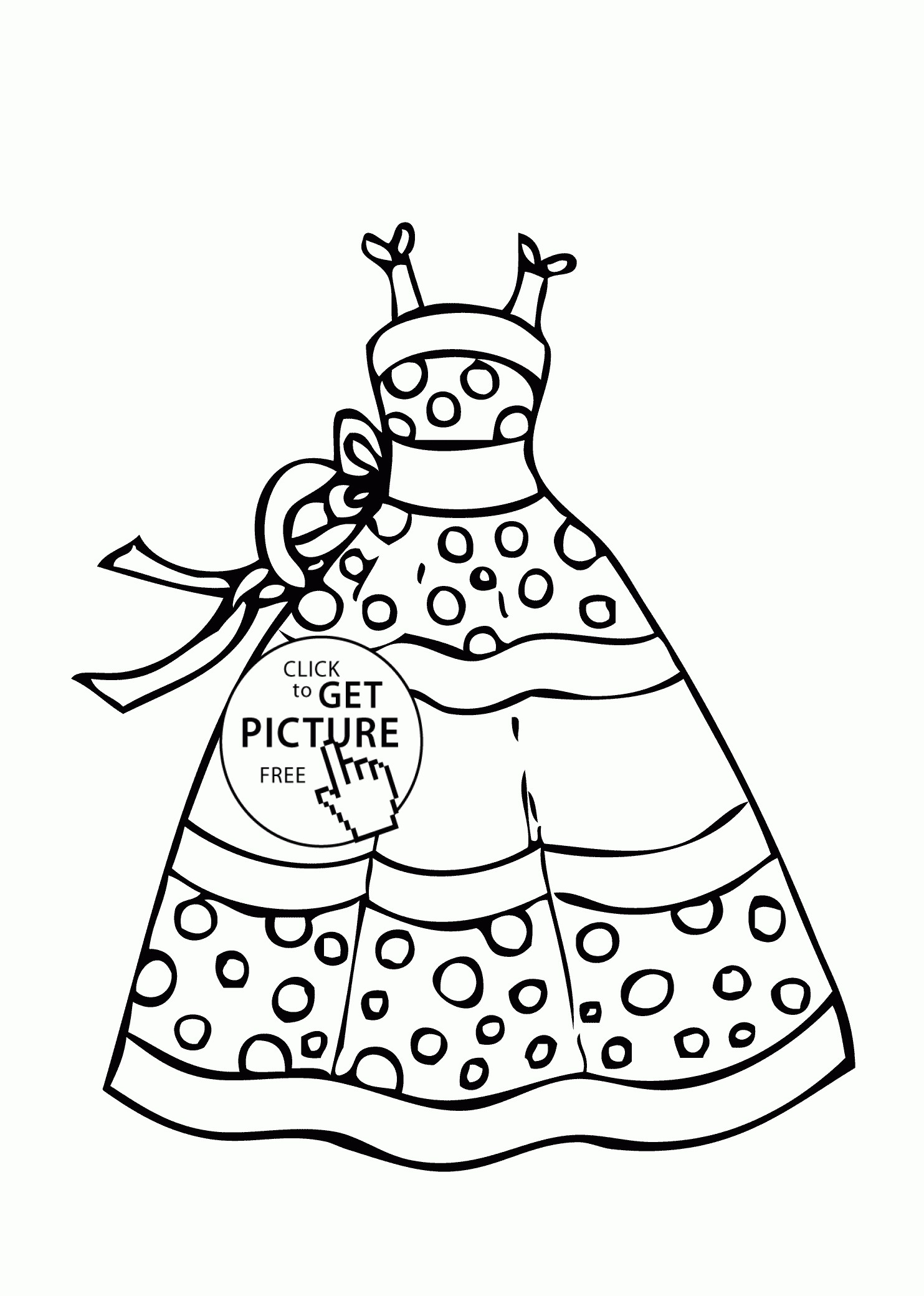 1483x2079 Dress With Bows Coloring Page For Girls Inspirational Coloring