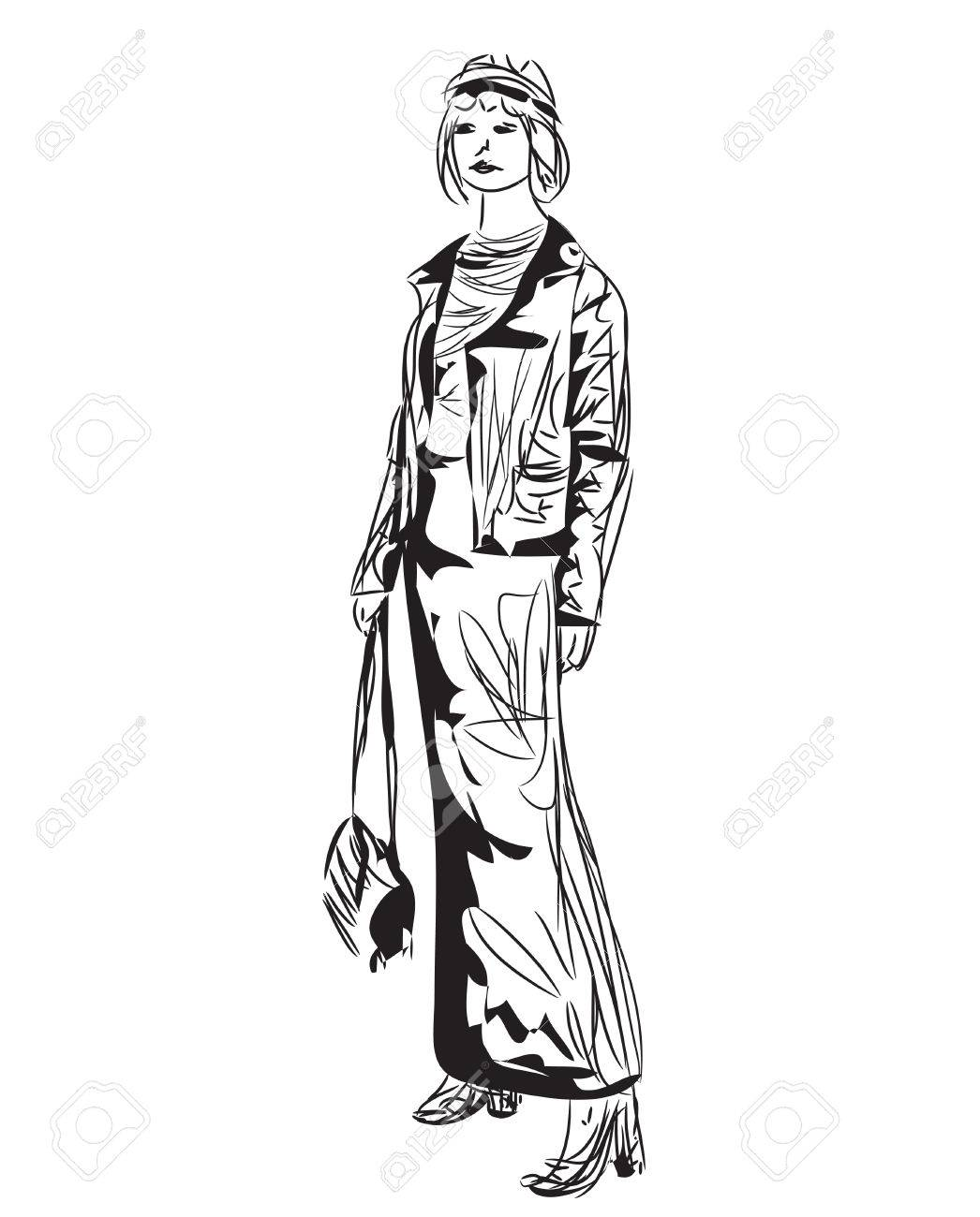 1046x1300 Fashion Model Sketch. Cartoon Girl. Woman In The Dress Royalty