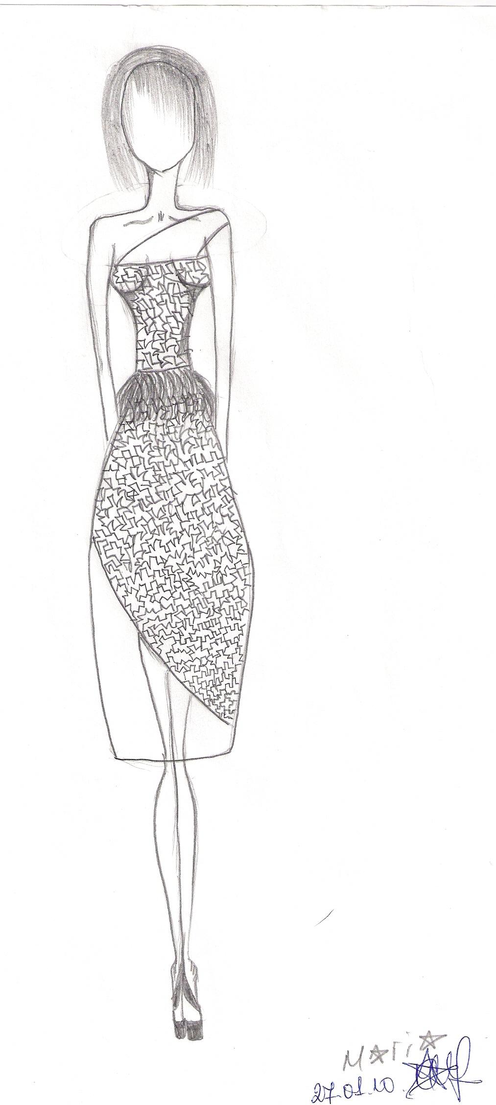 1013x2256 Pencil Drawing Girl Stylish Dress