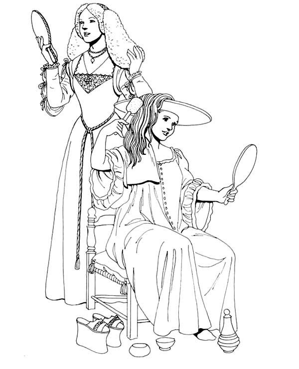 600x741 Renaissance Girl Dress Up Coloring Pages Renaissance Girl Dress