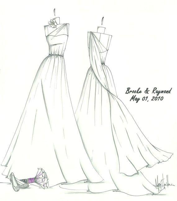 570x646 Wedding Dress Drawing