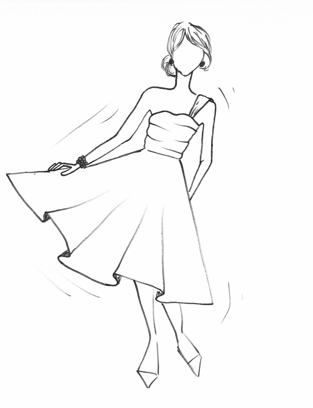 1228x1600 Dress Drawing Dresses Dress Drawing, Easy Drawings