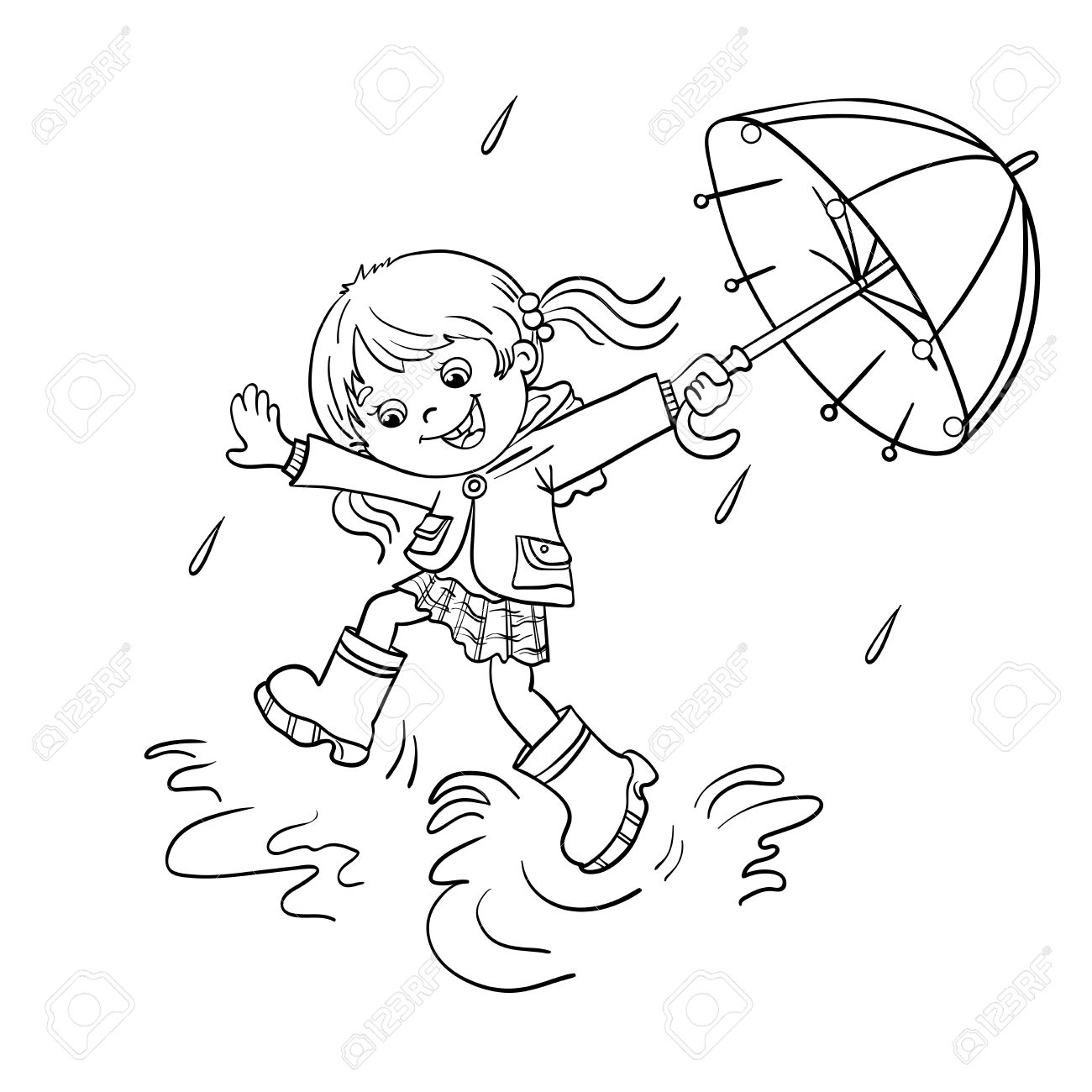 1300x1300 Coloring Page Outline Of A Cartoon Joyful Girl Jumping In The Rain