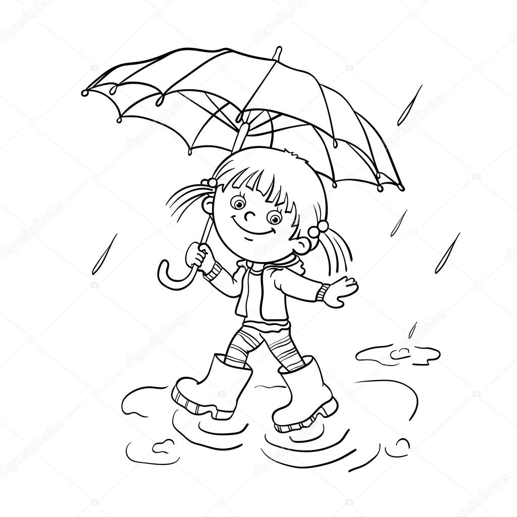 1024x1024 Coloring Page Outline Of A Girl Walking In The Rain Stock Vector