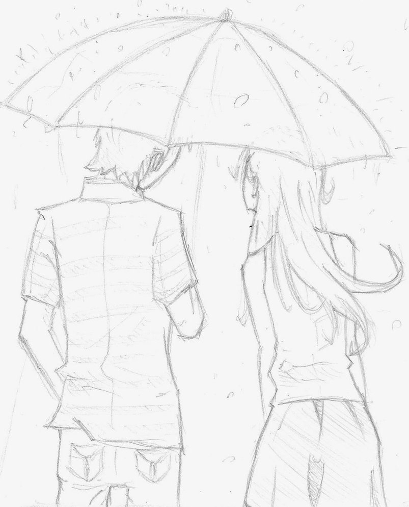 803x994 Love Couple Pencil Sketches Rain Rain With Girl Umbrella Pencil