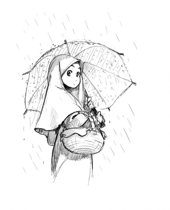 555x685 Manga Girl With Umbrella In The Rain Sketches, Drawings