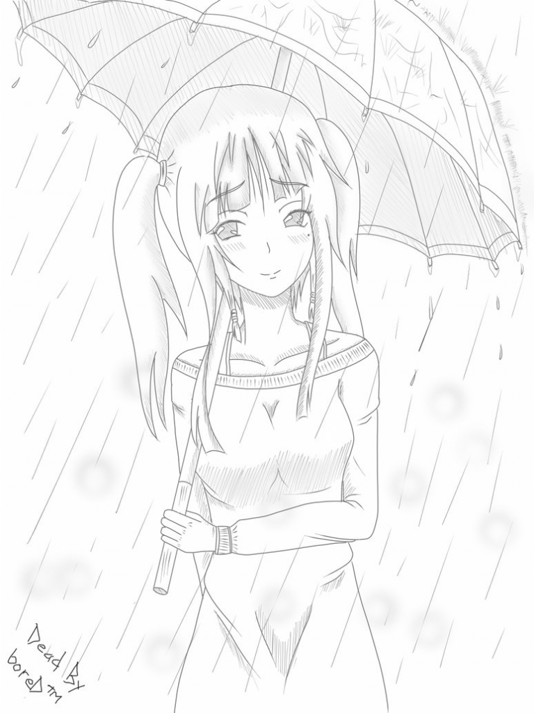 768x1024 Anime Rain Sketch Sad Anime Girl In Rain Drawing