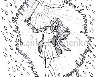 340x270 Rain Coloring Page Etsy
