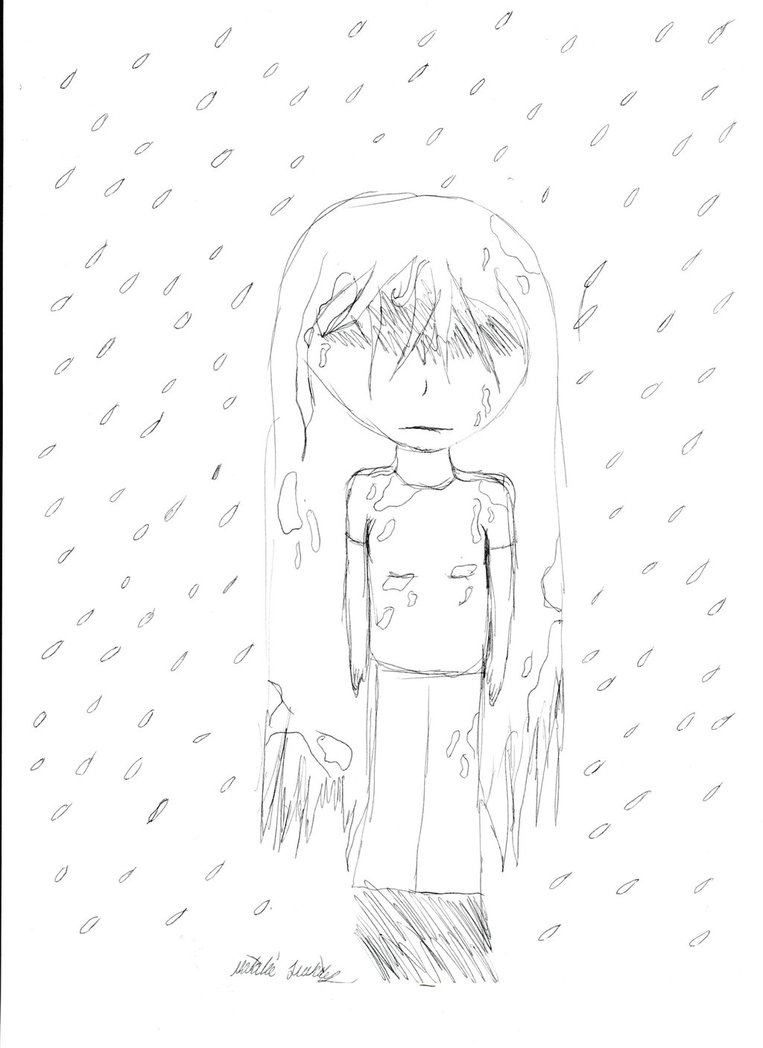 763x1048 Girl Standing In The Rain By Cutebabymangle