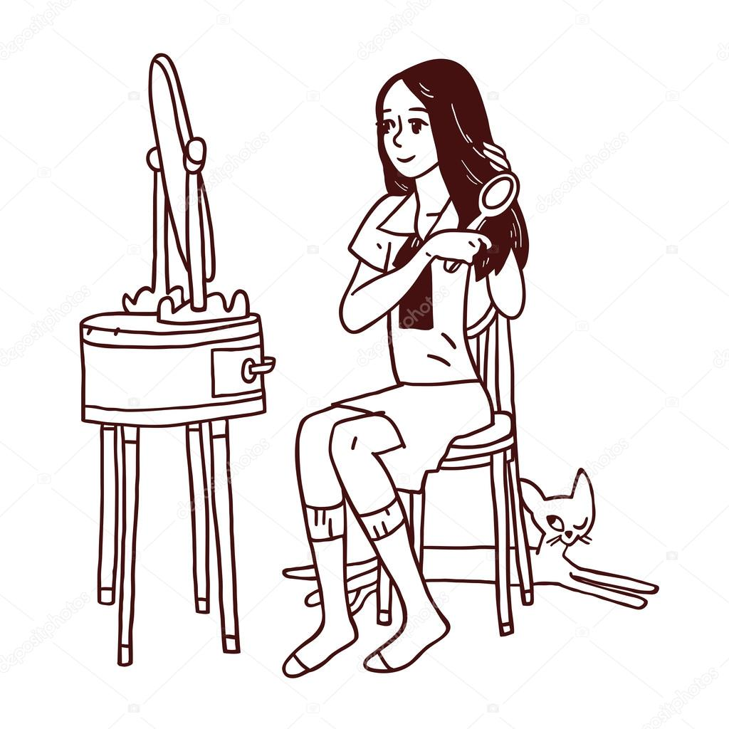 1024x1024 Girl Combing Her Hair Stock Vector Schiva
