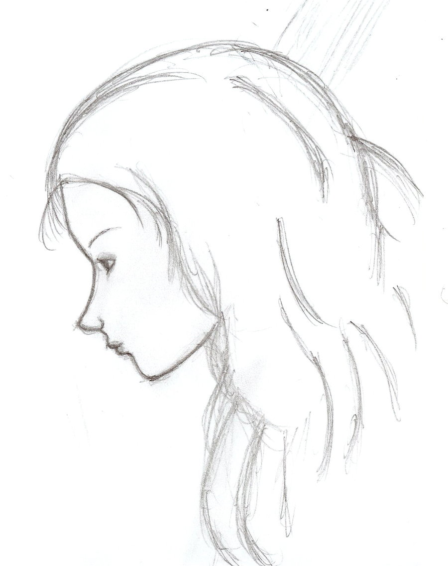 900x1136 Sad Girl Looking In Mirror Sketch