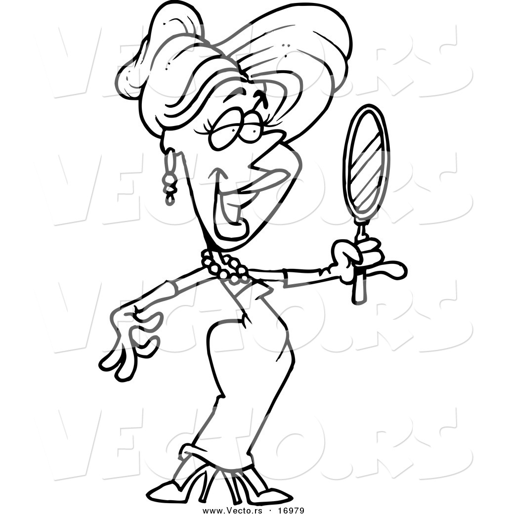 1024x1044 Vector Of A Cartoon Beautiful Blond Woman Using A Hand Mirror