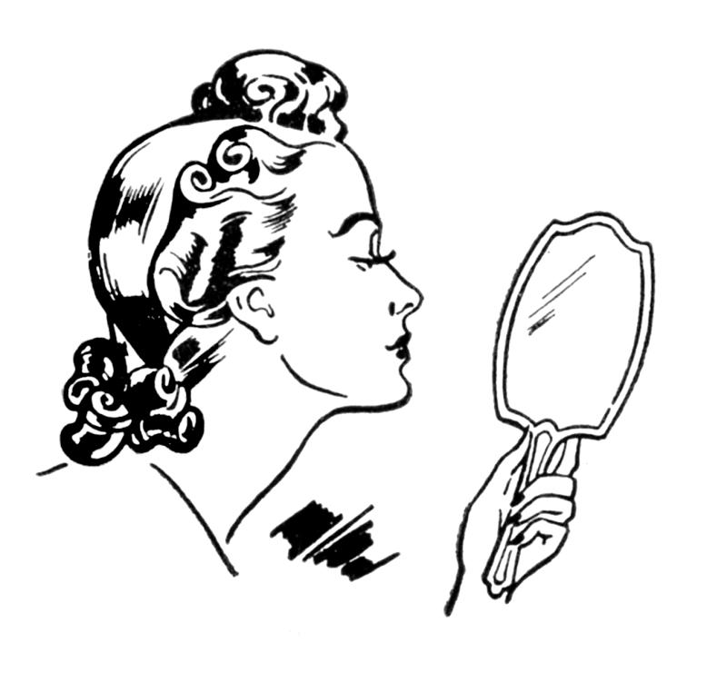 800x751 Girl Looking In Mirror Clipart