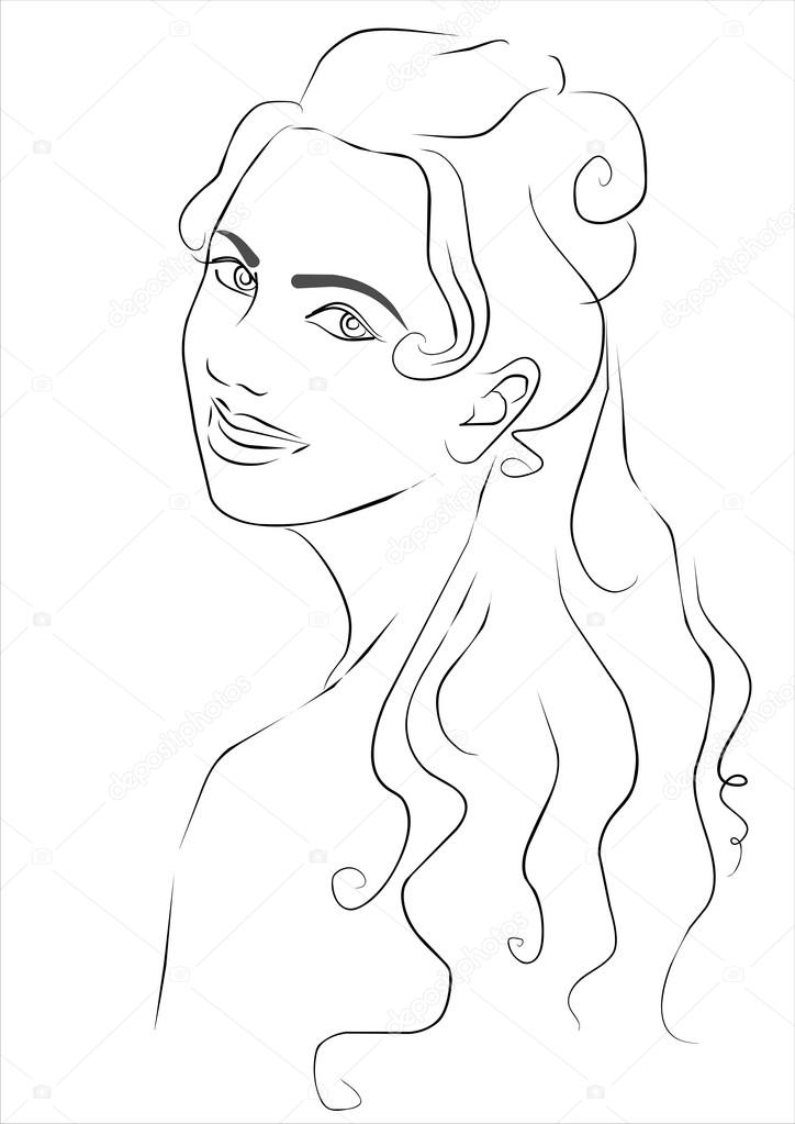 724x1023 Sketch Smiling Girl Stock Vector Tominagalina