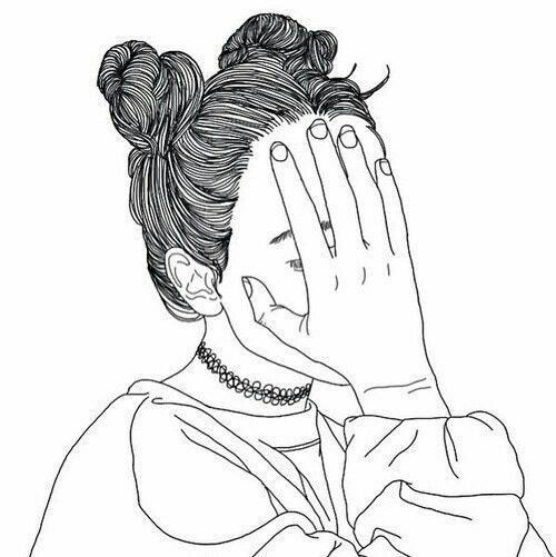 Girl Outline Drawing