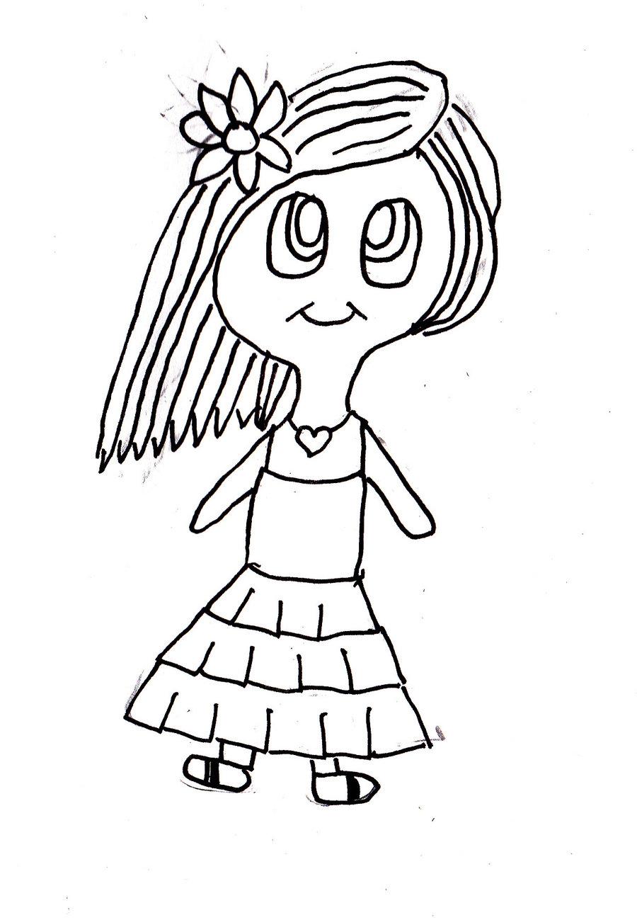 900x1299 Cute Manga Girl Outline By Rachel Hofton Art