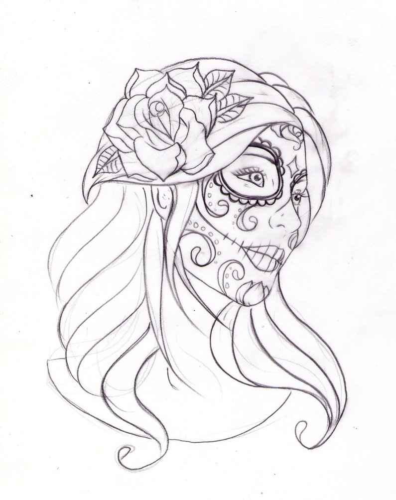 795x1004 Day Of The Dead Girl Outline
