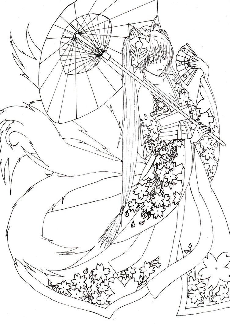 753x1062 Kimono Girl Outlines Dokomi 2015 Drawing Contest By Thanatosarts