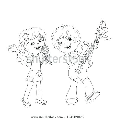 450x470 Outline A Boy And Girl Coloring Pages Coloring Page Outline