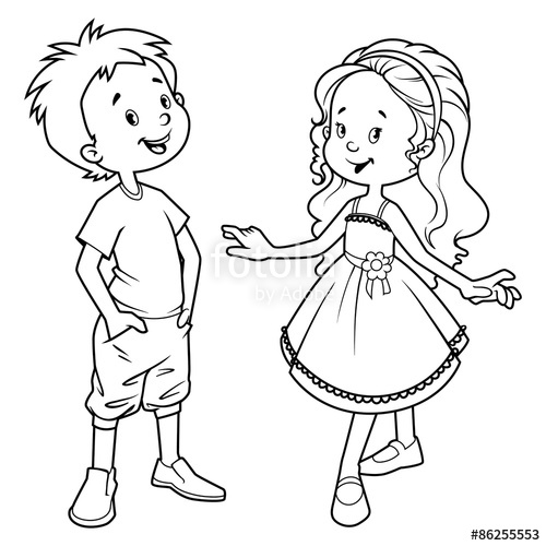 500x500 Very Cute Kids. Boy And Girl. Outline Stock Image And Royalty