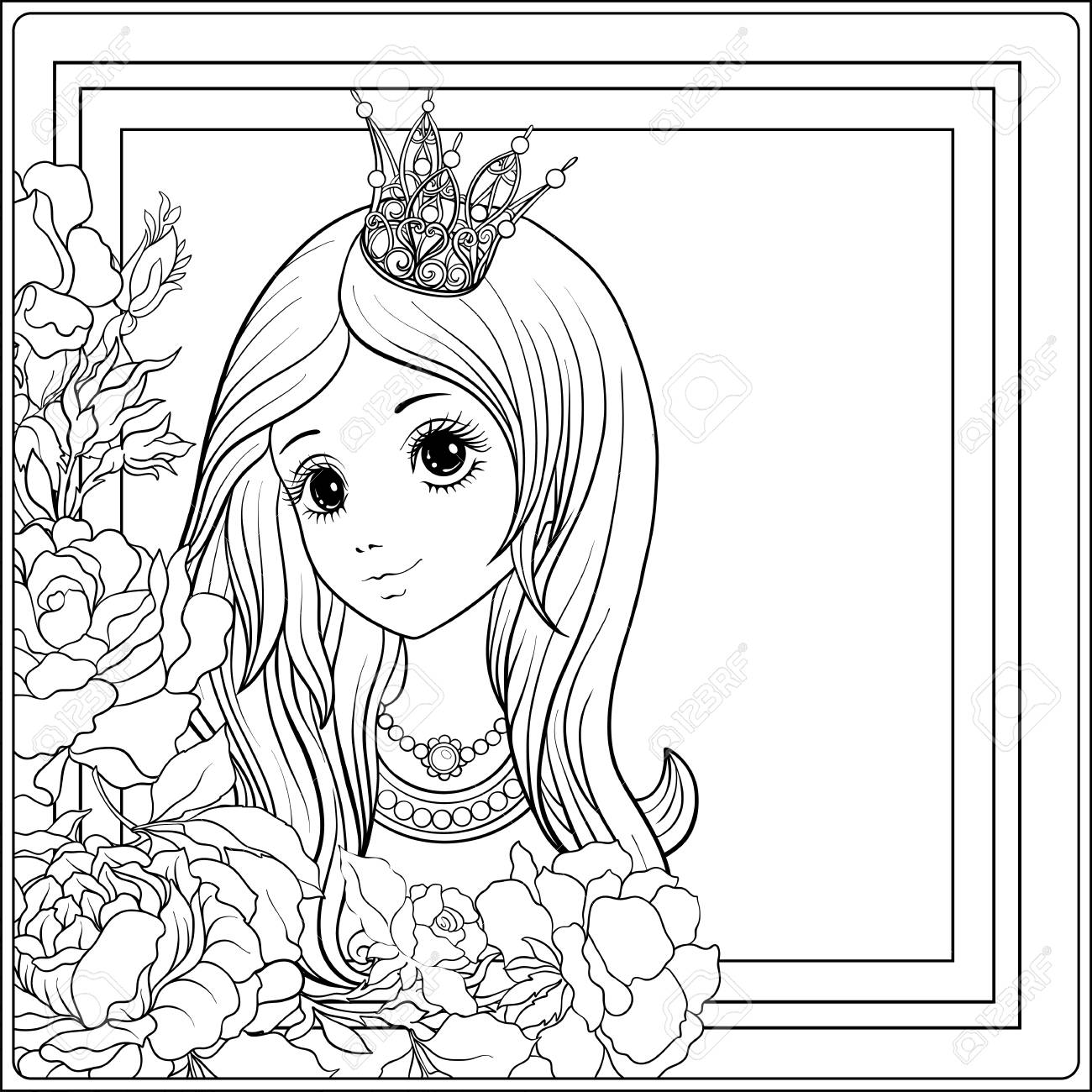 1300x1300 Young Nice Girl In Princess Crown In The Garden Of Roses. Outline