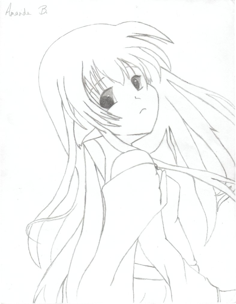 787x1015 Anime Girl Outline By Shekame