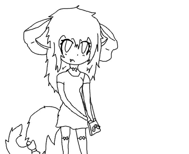 660x538 Fox Girl Outline By Riskyapplepie