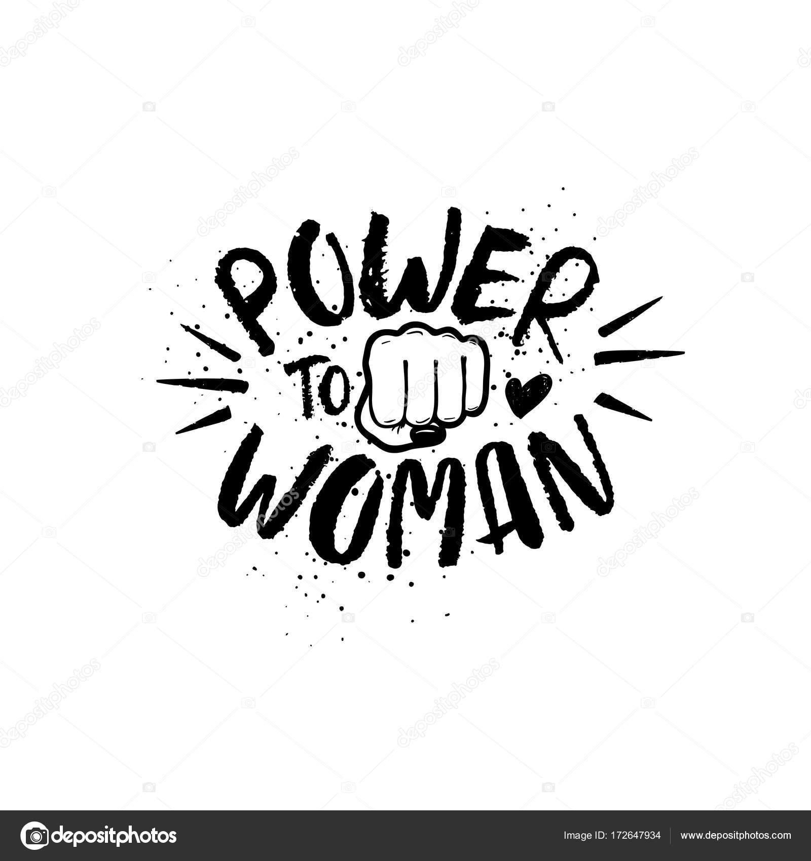 1600x1700 Hand Drawn Lettering Girl Power Feminist Slogan. Stock Vector