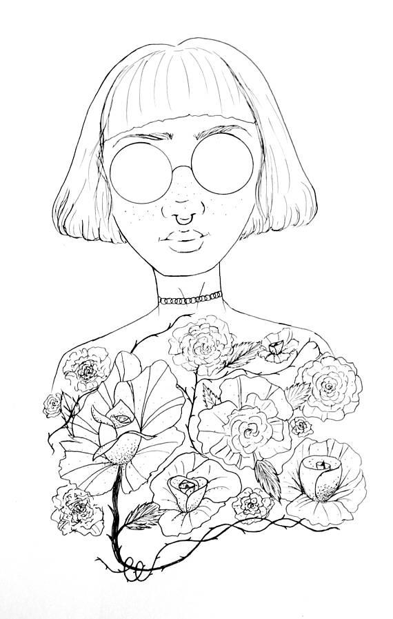570x897 Flower Girl Print Girl Power Art Feminist Art Tumblr Girl