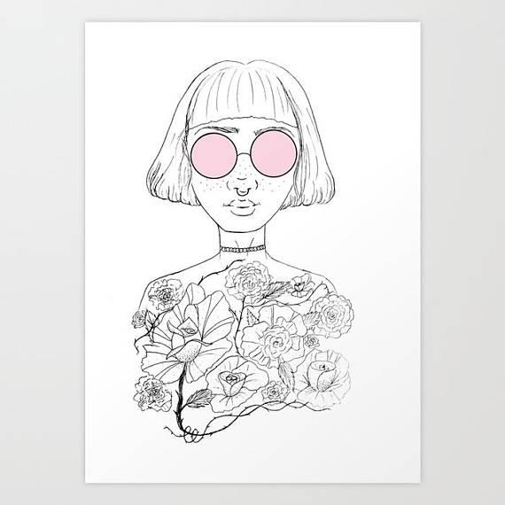 570x570 Flower Girl Vinyl Stickers Girl Power Art Feminist Tumblr