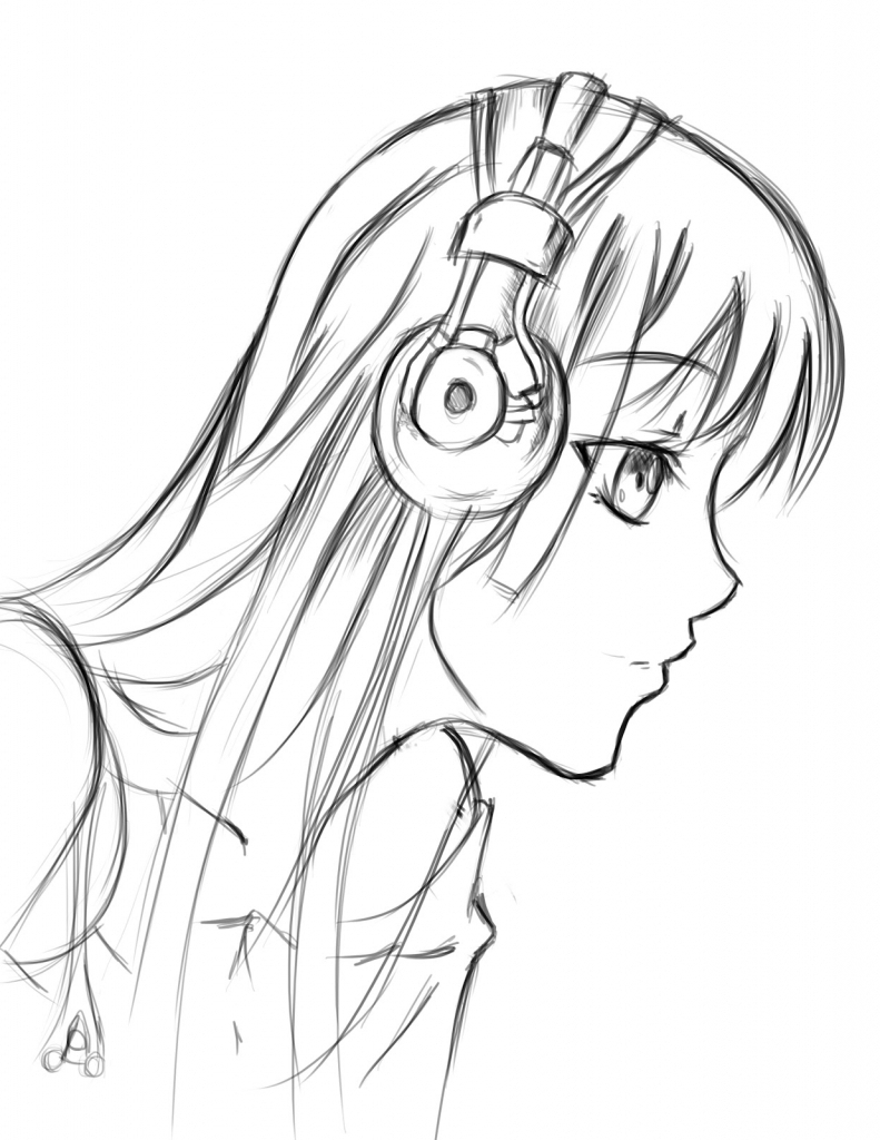 791x1024 Girls Face Drawing Side View