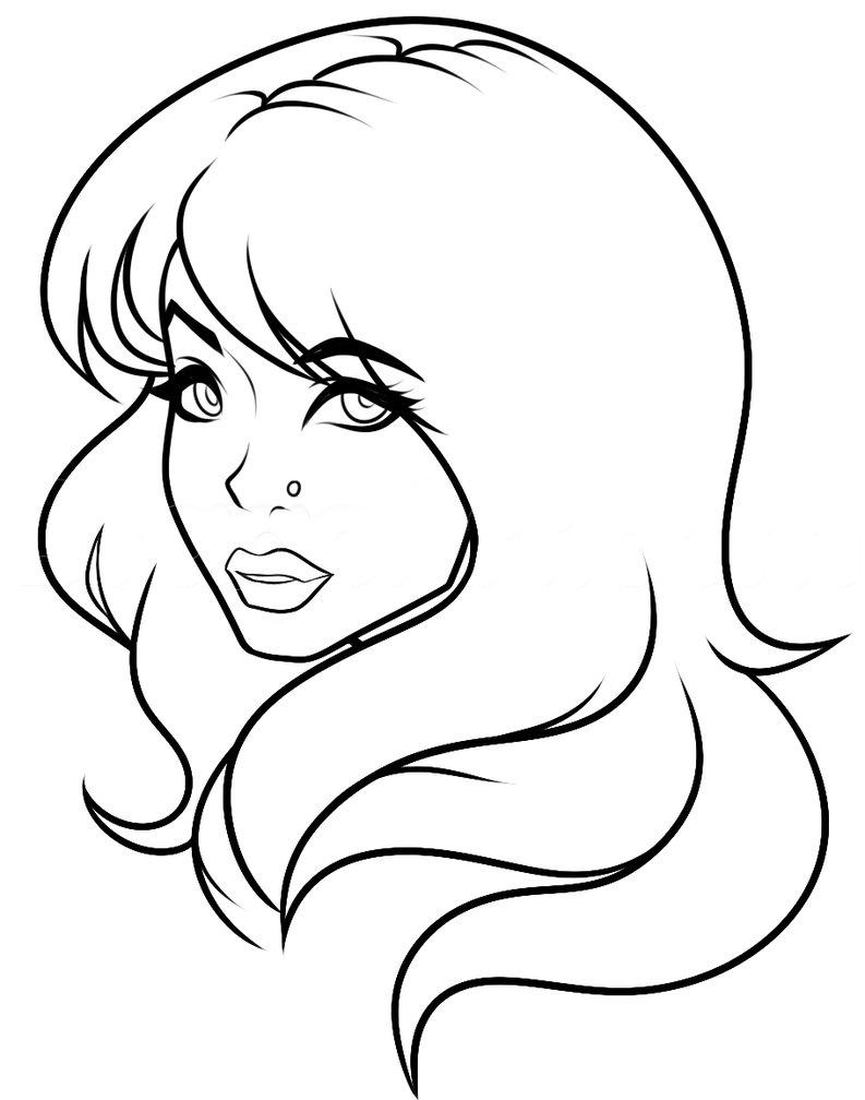 793x1008 Side Profile Girl Lineart White Bg By Dawnieda