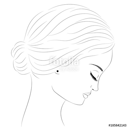 500x500 Sketch Of A Portrait Of A Girl In Profile. Portrait Of A Beautiful