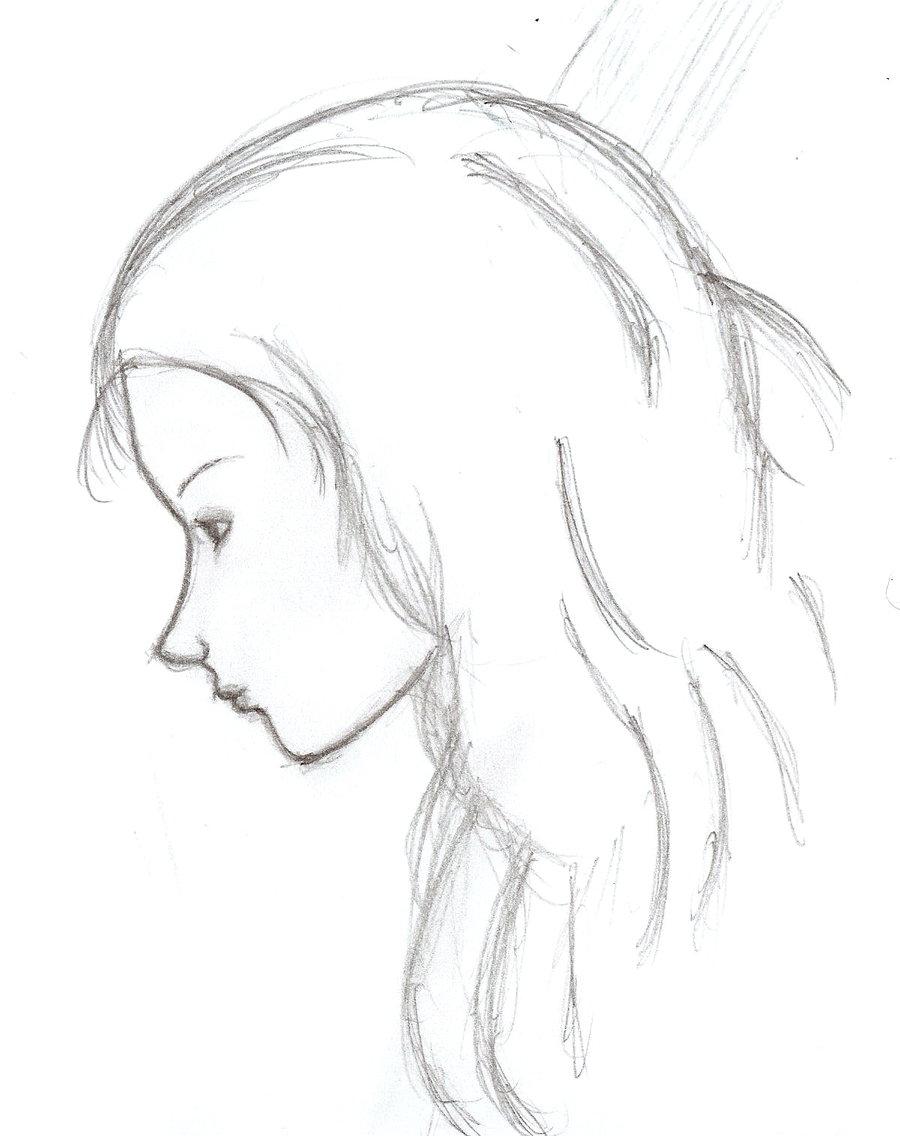 900x1136 Female Profile Sketch By Legnome
