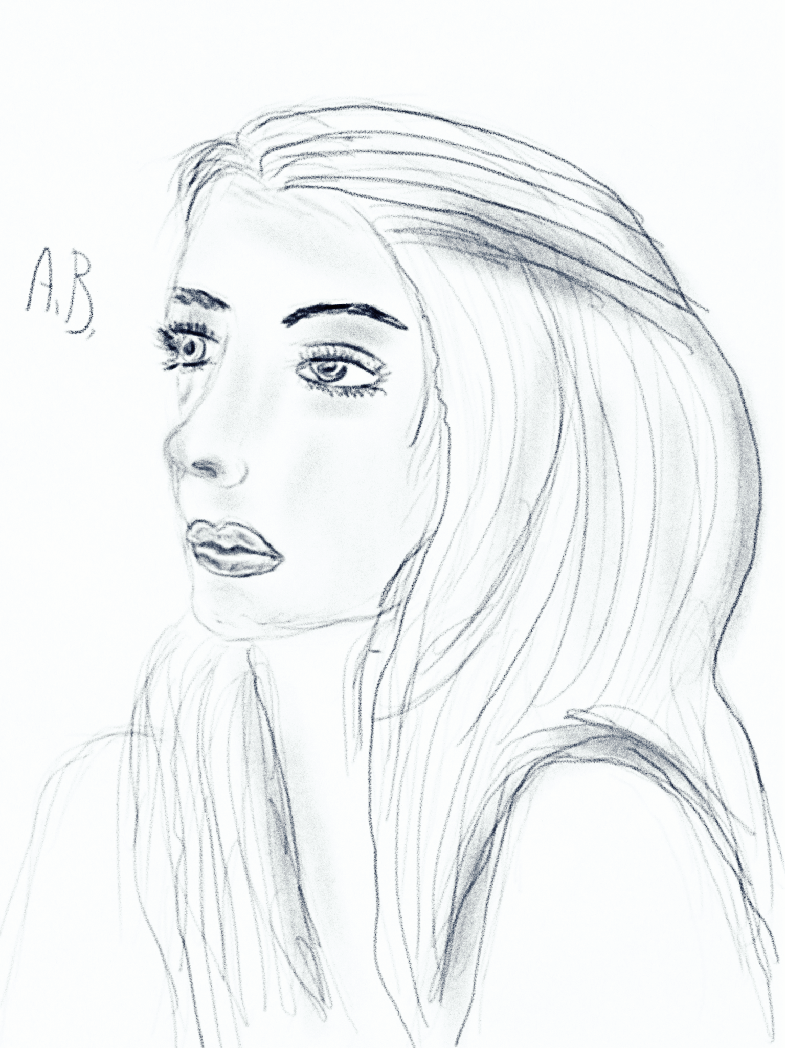 1537x2048 My Drawing Digital Drawing Portrait Of A Girl Profile