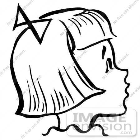 450x450 Clipart Of A Happy Retro Girl In Profile In Black And White