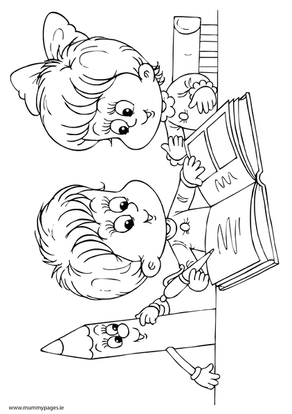 422x597 Boy And Girl Reading A Book Colouring Page MummyPagesMummyPagesie