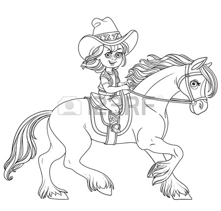 450x430 Cute Little Girl In A Cowboy Suit Riding Horse Coloring Page