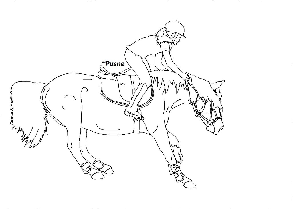 1024x731 Horse Riding Fall Lineart By Pusne