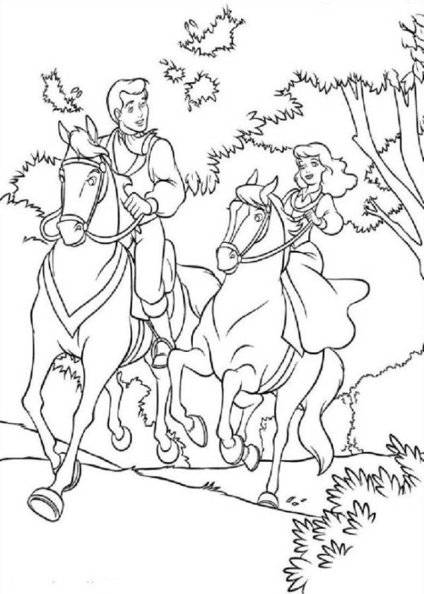 600x841 Princess Riding Horse Coloring Page
