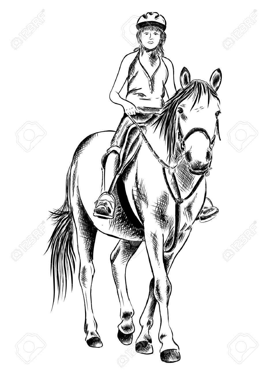 919x1300 Young Girl On The Horse Royalty Free Cliparts, Vectors, And Stock